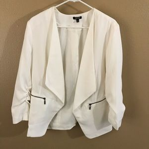 White Blazer Jacket with Scrunched Sleeves